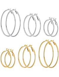 5c109546c 6 Pairs Stainless Steel Gold Silver Plated Hoop Earrings for Women Girls  (30.40.50mm