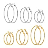 Cuicanstar 6 Pairs Stainless Steel Gold Silver Plated Hoop Earrings for Women Girls (30.40.50mm)