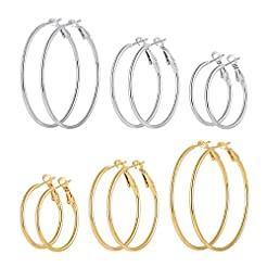 Cuicanstar 6 Pairs Stainless Steel Gold ...