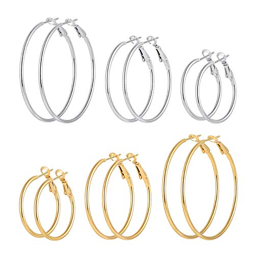 Cuicanstar 6 Pairs Stainless Steel Gold Silver Plated Hoop Earrings for Women Girls (30.40.50mm) from Cuicanstar
