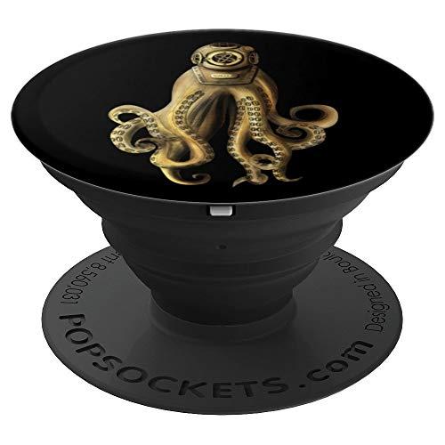 Kraken Vintage Scuba Diver Helmet Octopuses Art Gift Octopus PopSockets Grip and Stand for Phones and Tablets