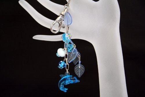 Blue Dolphin Lampwork Glass Bag Charm/Key Chain/Zipper Pull