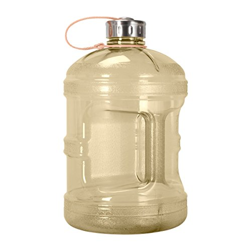 1 Gallon BPA FREE Reusable Plastic Drinking Water Bottle w/ Stainless Steel Cap (Yellow)