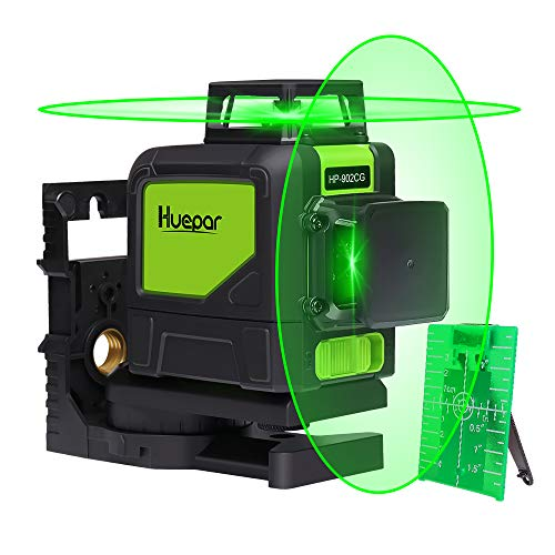 - Huepar 902CG Self-Leveling 360-Degree Cross Line Laser Level with Pulse Mode, Switchable Horizontal and Vertical Green Beam Laser Tool, Magnetic Pivoting Base Included