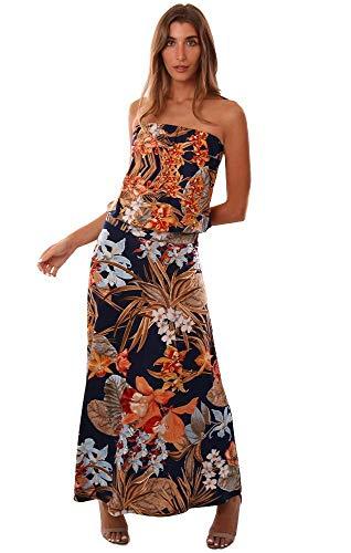 Veronica M Dresses Strapless Floral Print Drop Waist Maxi Dress - Navy/Orange - M