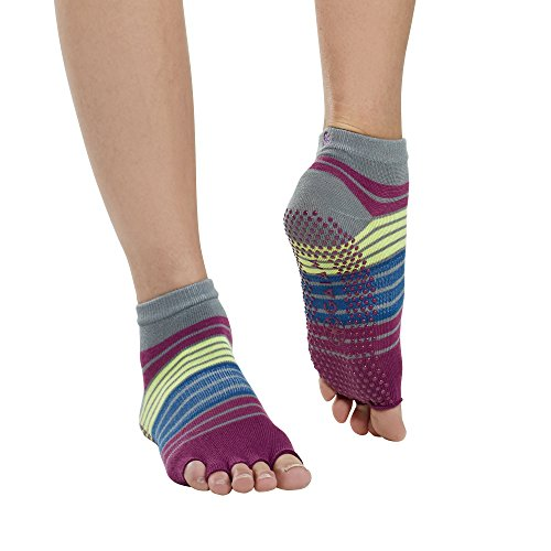 Price comparison product image Gaiam Grippy Toeless Yoga Socks for Extra Grip in Standard or Hot Yoga,  Barre,  Pilates,  Ballet or at Home for Added Balance and Stability,  Bright Bouquet
