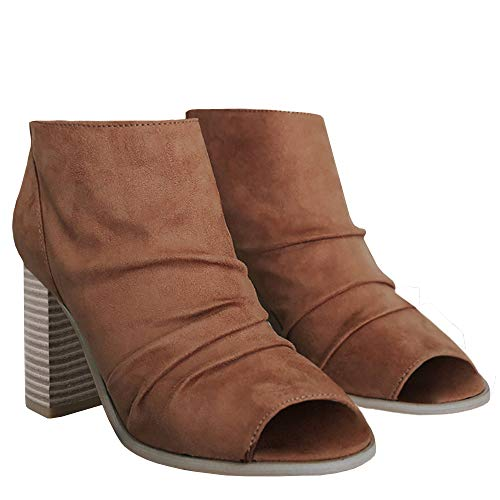 Womens Open Toe Pumps Ankle Booties Slouched Chunky Block High Heel Slip on Boots Brown