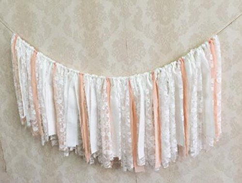 White Lace Flower and Pink White Ribbon Shabby Chic Garland Rag Tie Banner Bunting Wedding Party Garland Background