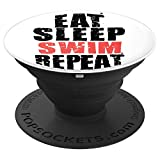 Eat Sleep Swim Repeat Motivational Gift ACE006c PopSockets Grip and Stand for Phones and Tablets