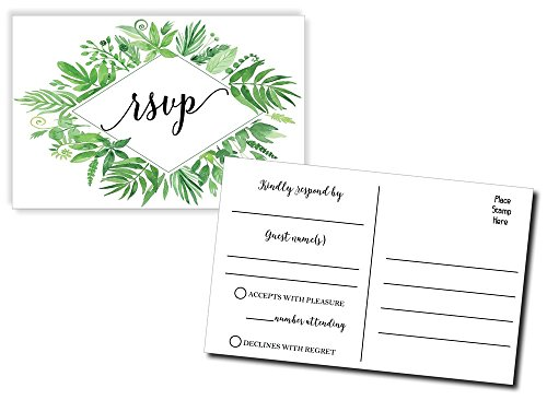 - 50 Greenery RSVP Postcards, Watercolor Floral RSVP Cards, Response Card, Blank RSVP Reply, RSVP for Wedding, Rehearsal Dinner, Baby Shower, Bridal, Birthday, Engagement, Bachelorette Party (50-Pack)