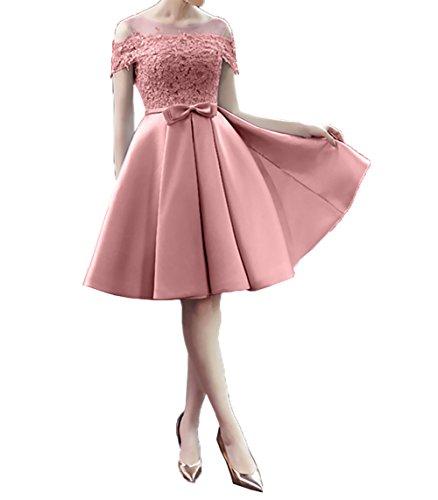 Charmant Ballkleider Elegant Cocktailkleider Knielang Satin Rosa Dunkel Partykleider Damen Promkleider Abendkleid Kurz q7rpq