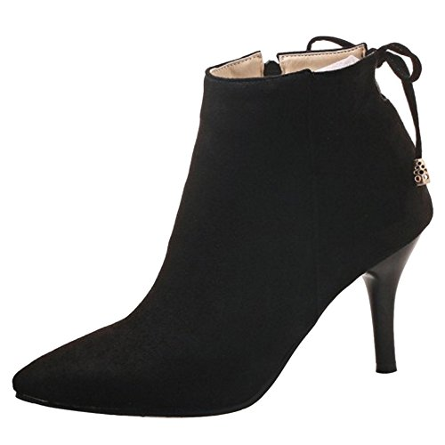 Boots Zipper TAOFFEN 2 Black Ankle Bowknot Women xHvAqvaB