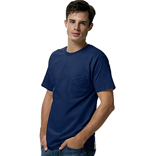 Cotton Adult Pocket T-shirt - Hanes 5590 Unisex Tagless 100% Cotton T-Shirt with Pocket Navy XX-Large
