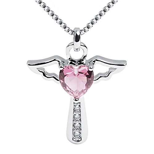 Ckysee Necklaces for Women Girls Cross Cubic Zirconia Angel Wing Birthstone Heart Charm Pendant Necklace October- Turmaline