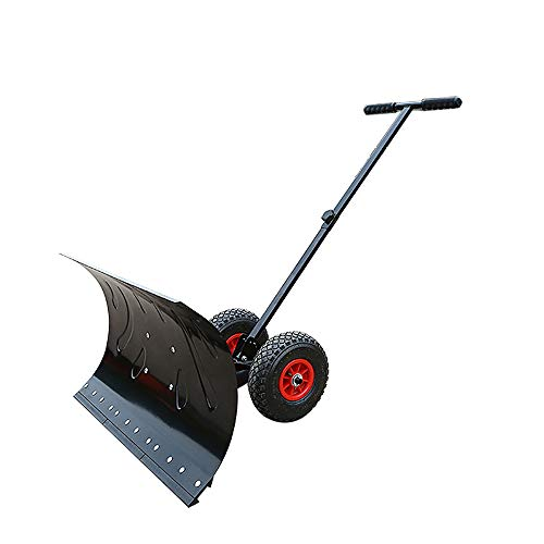 HJJH Rolling Snow Pusher Shovel, Heavy-Duty Rolling Ajustable Snow Pusher con Ruedas De 6', Adecuado para La Entrada A La...