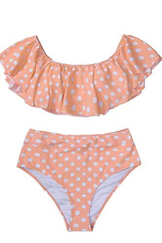 (CUPSHE Women's Peach White Polka Dot Bikini Set Ruffled High Waisted Swimsuit, XL)