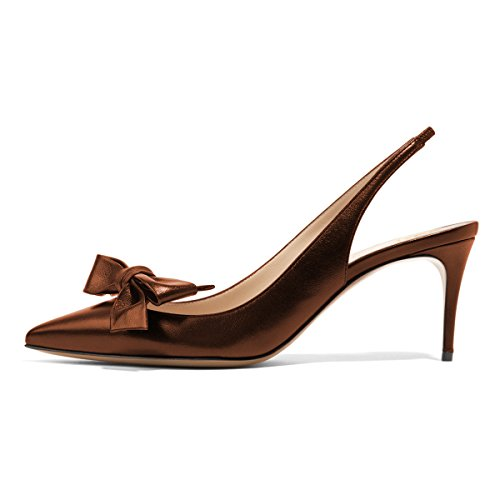 XYD Women Fashion Pointed Toe Slingback Pumps High Heel Slip On Dress Shoes with Bows Size 8.5 Sienna