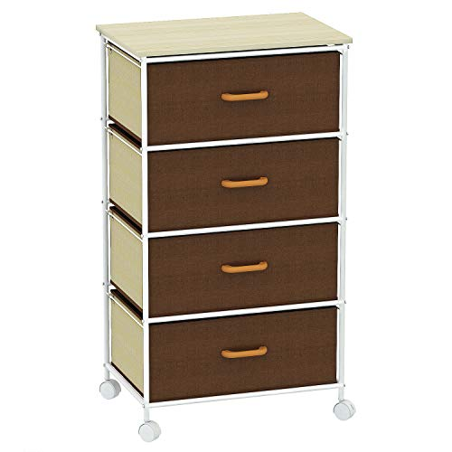 HOME BI 4 Drawer Rolling Cart, Storage Drawer Organizer on Wheels for Home and Office