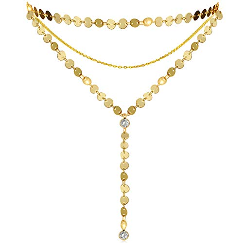 Suyi Exquisite Thin Layered Sequins Choker Necklace Women Girl Lady Long Chain Pendant Necklace D-Gold