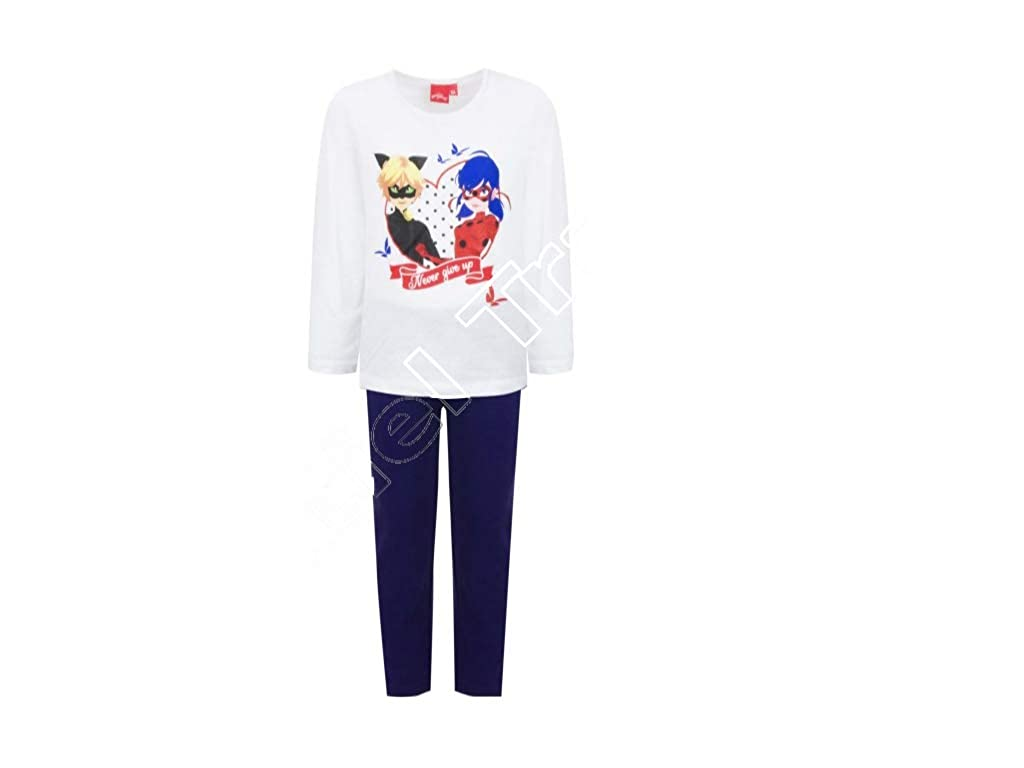 Miraculous Ladybug Schlafanzug lang Pyjama hellgrau rot