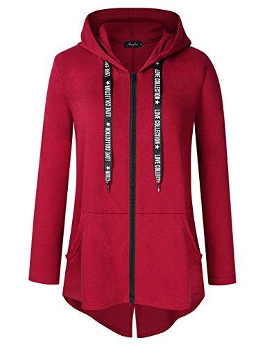 Size Lightweight Full Zip Up Hooded Sweatshirt Hoodie Jacket Wine red-1 4XL ()