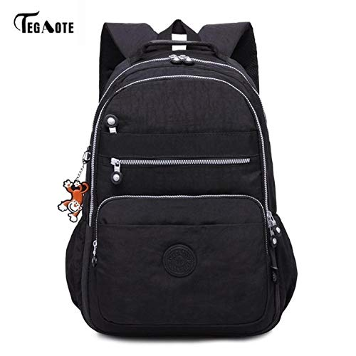 noir-33CMX16CMX47CM 1376-6c50  QWKZH Sacs à Dos Laptop sac à dos femmes voyage sacs Multifunction sac à dos imperméable Nylon School sac à doss for Teenagers