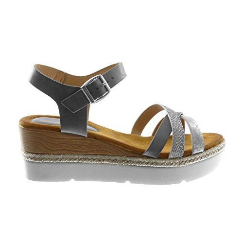 Angkorly Femme Gris Mule Multi Basket Sandale 5 Compensé cm 6 Chaussure Talon Strass Lanière Plateforme Bride Mode Plateforme Tréssé Cheville Semelle Diamant rx1rqpzCw