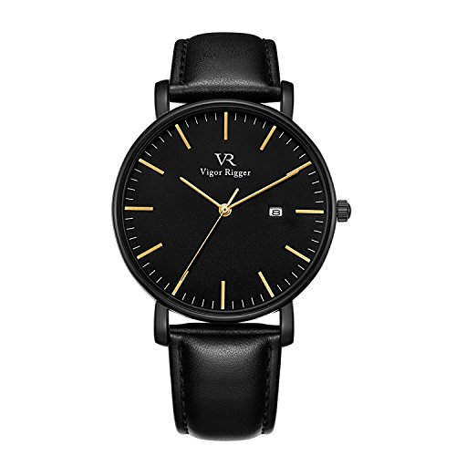 Vigor Rigger Mens Womens Ultra Thin Watch Black Wristwatch For Men Classic Minimalist Design With Date Calendar Soft Leather Strap  Gold And Black
