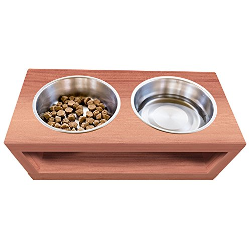 UNFINISHED Solid cedar wood Elevated Dog and Cat Pet Feeder, Double Bowl Raised Stand (3 quart), 3/4'' thick, 25'' x 12'' x 8'' Tall by TFKitchen