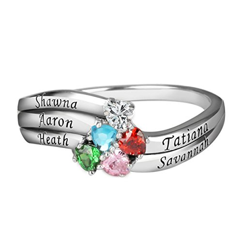 Mothers Name Birthstone Rings (Quiges 925 Silver Mothers CZ Birthstone Personalized Engraved Name 5 Hearts Bands Ring Size 7.25)