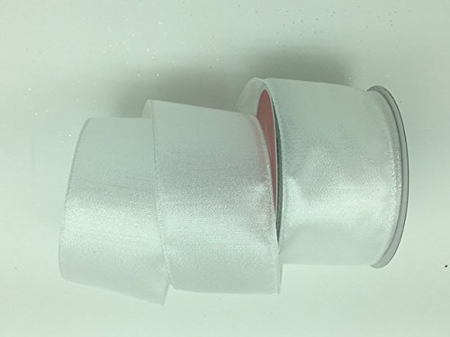 Celebrate IT- Ribbon Bow-tique- Christmas white -Wired Plaid linen ribbon 2.5 in x 25ft