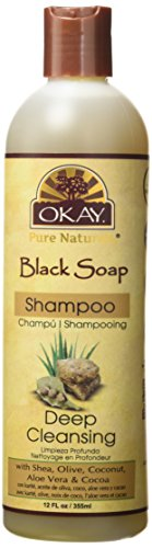 OKAY | Black Soap Shampoo | For All Hair Types & Textures | Cleanse, Nourish and Hydrate Hair | With Shea, Olive, Coconut, Aloe Vera & Cocoa | Free of Parabens, Silicones, Sulfates | 12 oz