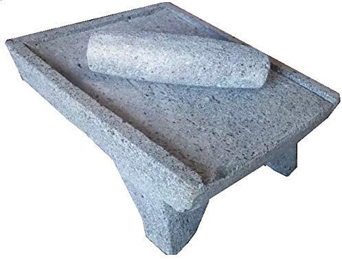 Made in Mexico Genuine Mexican Azteca Manual Volcanic Lava Rock Metate Y Mano Mortar and Ground Stone Grains Seeds Spices Corn Elote Maíz Chocolate #16 by always-quality