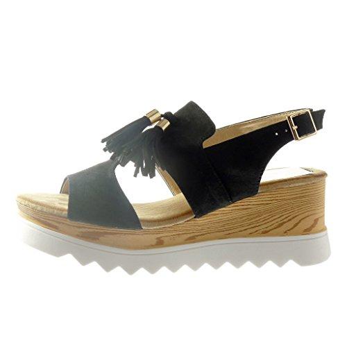 cm Angkorly Femme 5 Noir Frange 6 Pom Plateforme Compensé Mode Ouverte Bois Chaussure Pom Plateforme Sandale Talon XqZAXFr