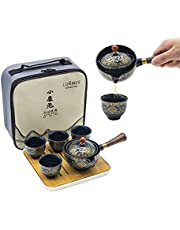 LURRIER Porcelain Chinese Gongfu Tea Set , Spillproof Portable Teapot Set with 360 Rotation Tea maker and Infuser,Portable All in One Gift Bag for Travel,Home,Gifting,Outdoor and Office(Floral Blue)