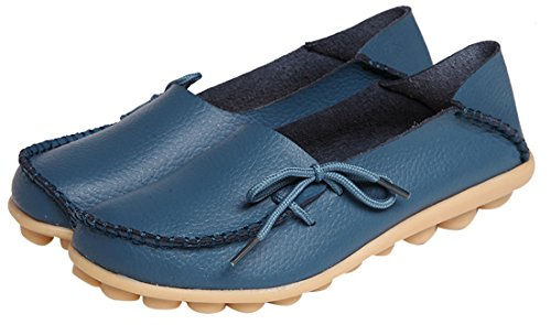 Loafers Leather Cowhide up Flat Womens Casual Driving Blue Lace Serene 6wFx85qq