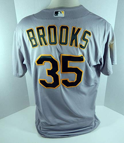 2018 Oakland Athletics A's Aaron Brooks #35 Game Issued Grey Jersey 50th Patch - Game Used MLB Jerseys