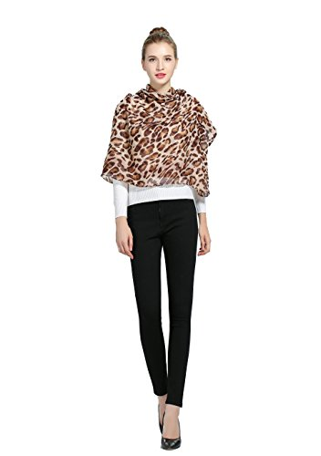 Luxina Leopard Print Loop Shawl Infinity Scarf Lightweight Circle Wrap for Women