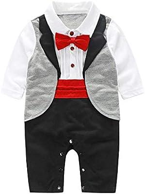 AFFEco - Traje de esmoquin para bebé, corbata para fiesta rojo ...