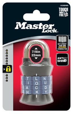 Master Lock Vertical Resettable Word Combination Padlock