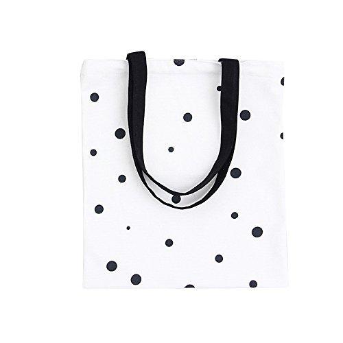 - Nuni Black Polka Dot Pattern Canvas Tote Bag School Bag White