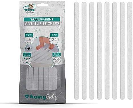 HOMYBABY Pegatinas Antideslizantes [24pcs] | Tiras antideslizantes bañera, ducha y escalera | Cinta adhesiva bañera transparente (25x2 cm) | Alfombra bañera adultos, niños y bebé: Amazon.es: Bebé