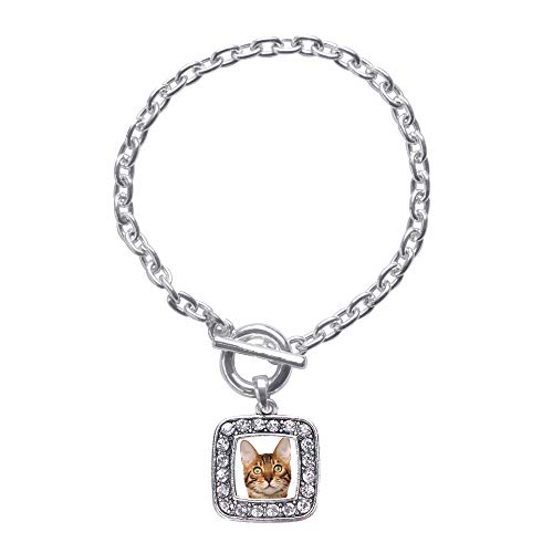 Inspired Silver - Bengal Cat Toggle Charm Bracelet for Women - Silver Square Charm Toggle Bracelet with Cubic Zirconia Jewelry