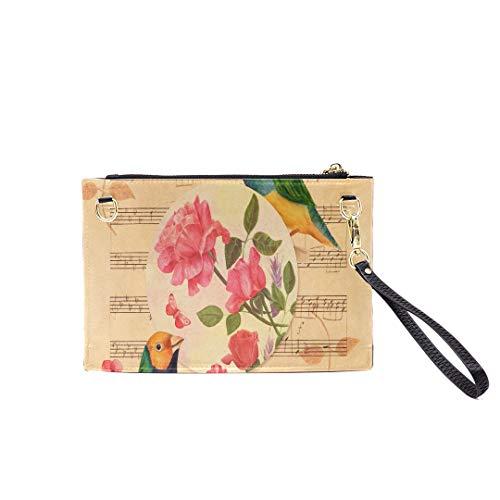 Handbag Shoulder Bags Envelope Clutch Victorian Style Collage Postcard Watercolor Drawings Clutch Purse For Women Wrist Leather Zipper Crossbody Bag Satchel Purse With Detachable Shoulder&Wrist Straps