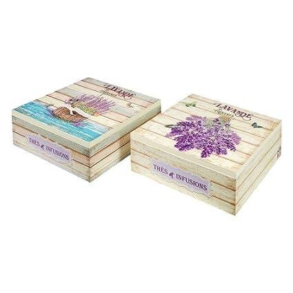 2 Cajas Decorativas Lavanda Para Té e Infusiones. Cajas con uso.7 x 18