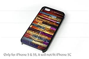 Colorful wood stripes with an anchor iPhone 5 case / iPhone 5S Case - 4G AArt#912 Verizon, AT&T etc...