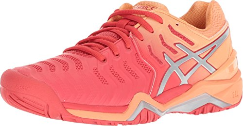 ASICS Womens Gel-Resolution 7 Tennis Shoe, Red Alert/Silver, Size 8.5