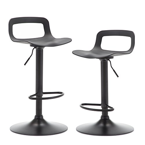 NOBPEINT Contemporary Chrome Air Lift Adjustable Swivel Bar Stool, Set of 2, Black