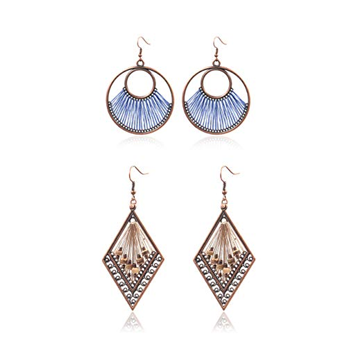(Gudukt Double Hoop and Daimond Shaped Dangle Earrings Women's Statement Big Geometric Earrings Set)