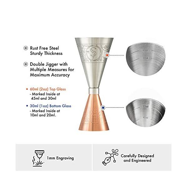 Esclusivo Cocktail Shaker Boston - Rame - Set Completo Professionale, Jigger di Precisione, 2 Sottobicchieri Versatili e… 3 spesavip